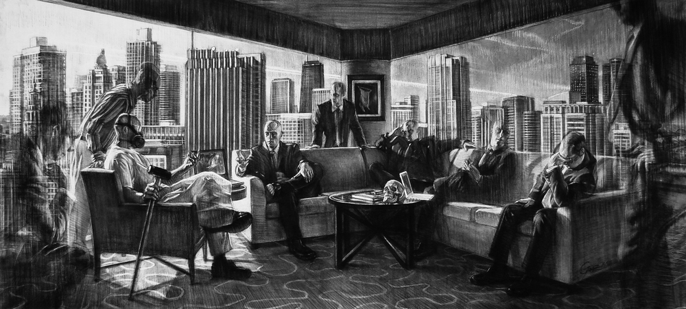 The Initiation   charcoal on Rives BFK paper, stretched over canvas, h 40  w 84 inches /  SOLD