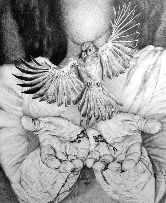 If I Am The Bird Why Am I Hurt   graphite on Rives BFK, h 35.25  w 30.5 inches