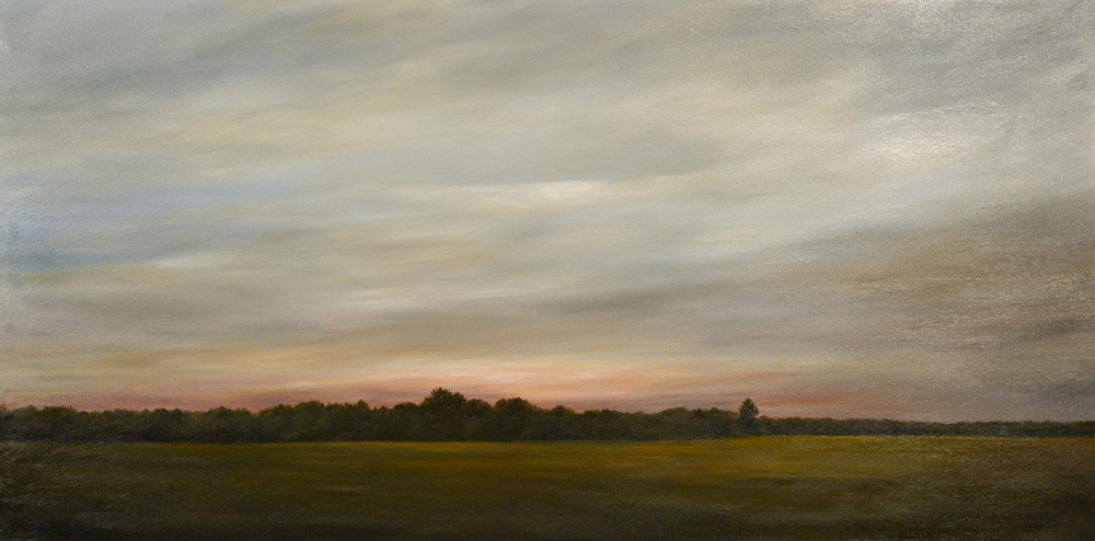 Looking North: Ebbing Light   oil on panel, h 29  w 53.5 inches