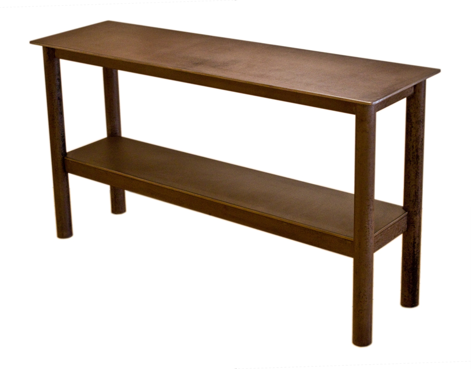 Runner Table   steel, natural rust patina, h 32  w 59 d 16 inches