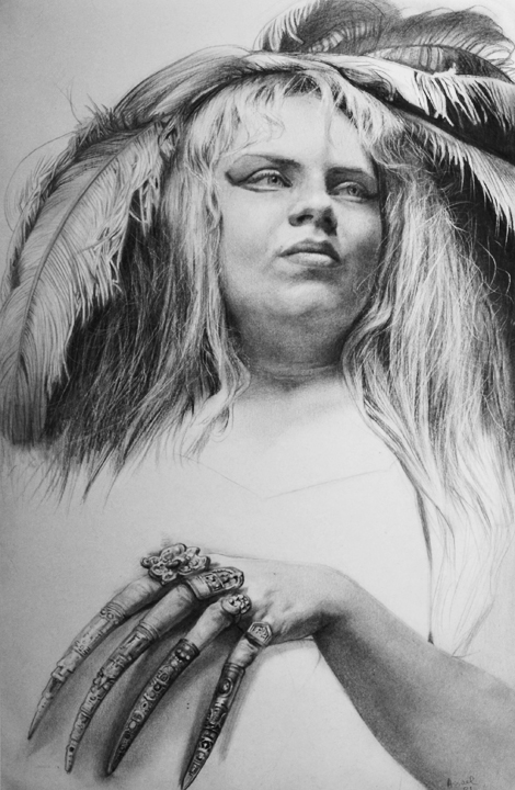 Helen with Feathers and Claws   graphite on paper, h 14  w 9 inches
