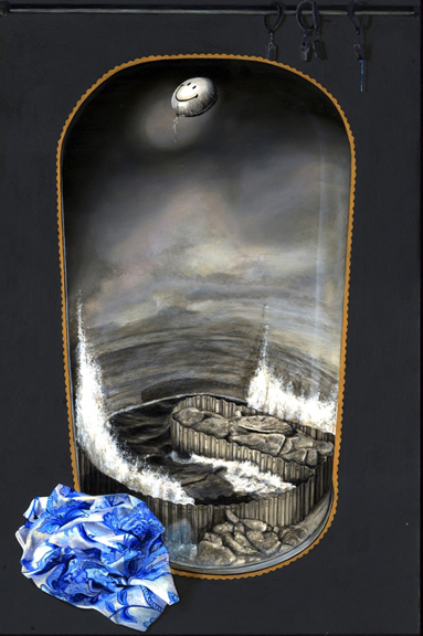 Yes, But Does it Float   oil on linen, h 21.75 w 14.75 inches