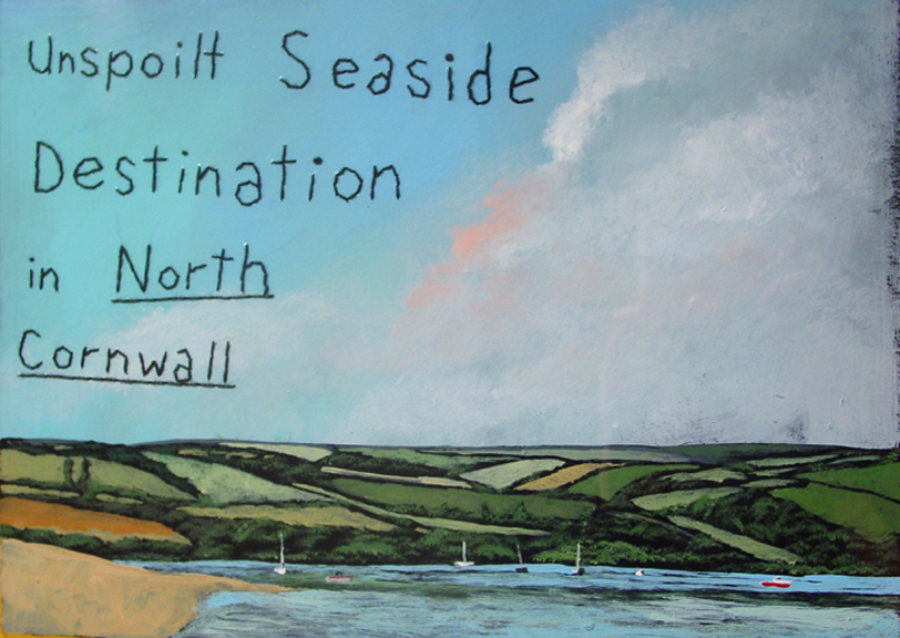 Unspoilt Seaside   oil, enamel, stitchery on paper, h 14.5  w 18.5 inches
