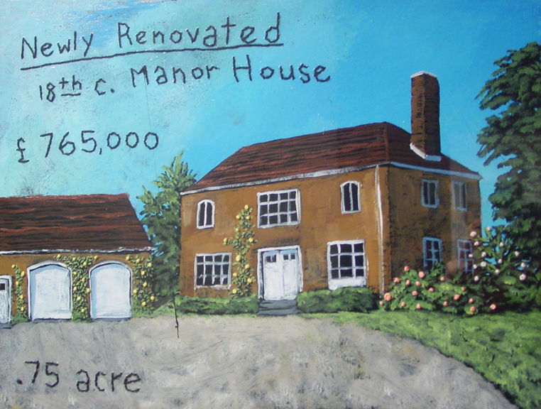 Newly Renovated 18th c. Manor House   oil, enamel, stitchery on paper, h 11  w 15 inches