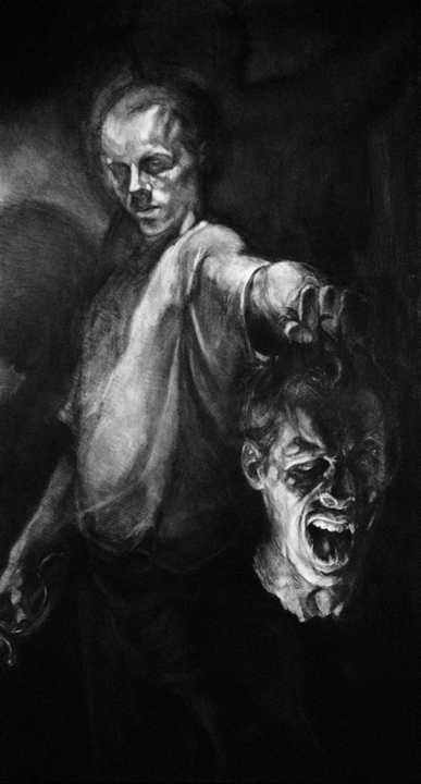 David and Goliath   charcoal on paper, h 80  w 42 inches
