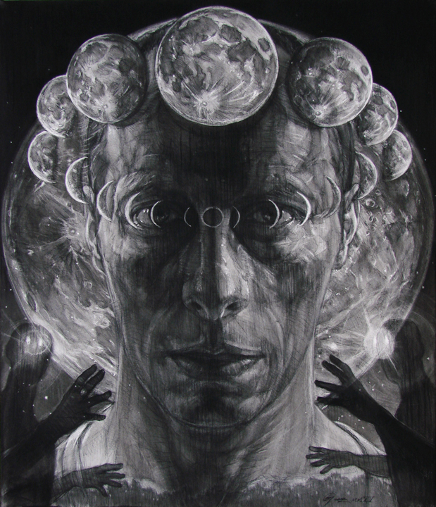 Night Seeker   charcoal on Rives BFK stretched over canvas, h 42  w 36 inches