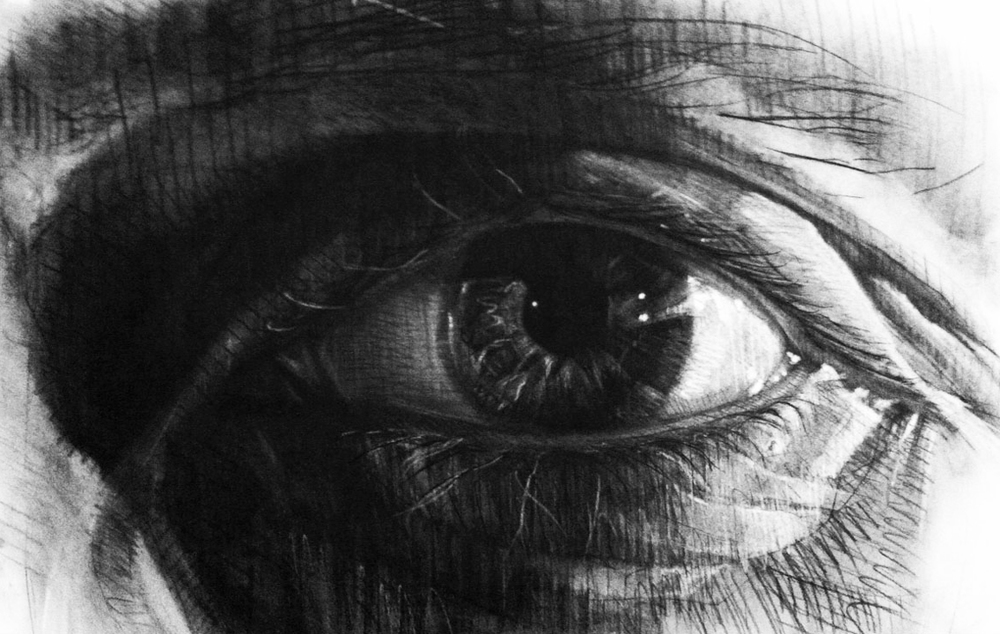 Sight   charcoal on rives BFK, h 22  w 33.5 inches