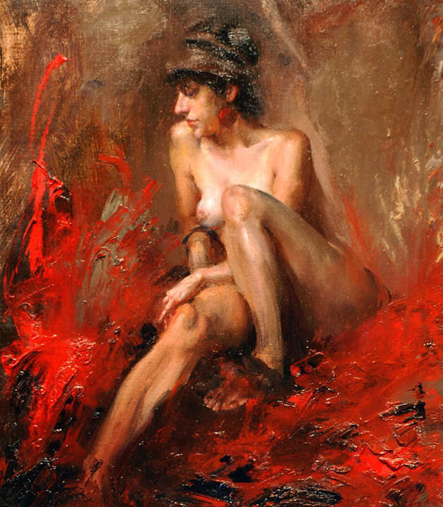 Fire   oil on linen, h 15  w 13 inches