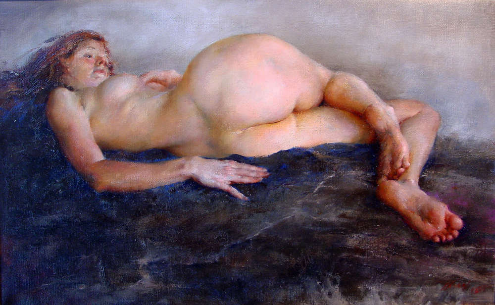 The Landscape of Bodies II   oil on canvas, h 14  w 16.5  inches