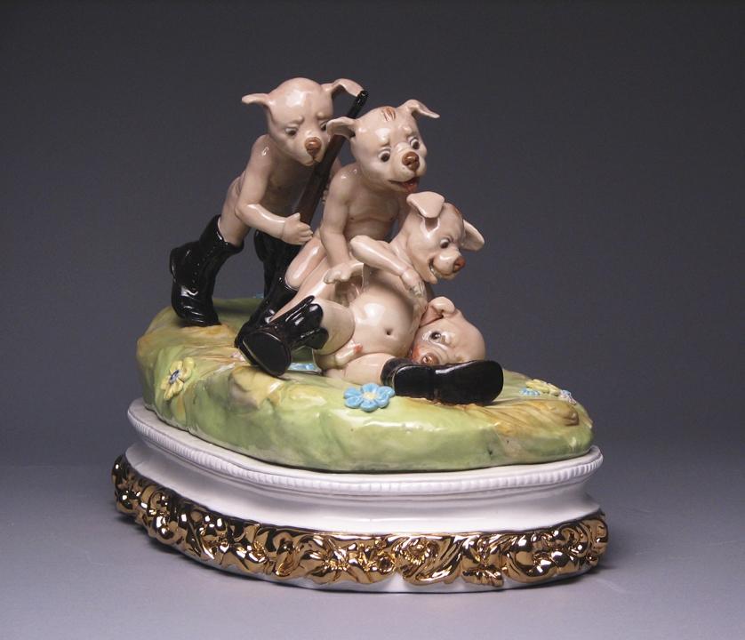 Kiss Me   porcelain, glaze, lustre, h 7 w 14 inches / Unavaliable