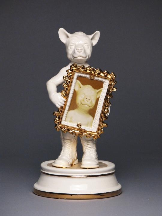 Posterity: Allegorical Figure   porcelain, glaze, lustre, h 8.5 w 5.5 d 5.5 inches /  Unavailable