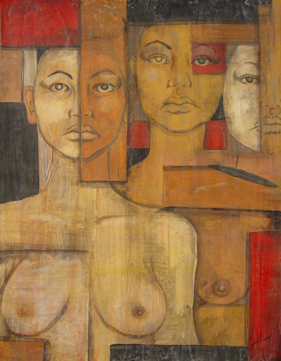 Four Faces #4 (3 gridded faces)   acrylic, ink and glue on panel, h 24  18 inches