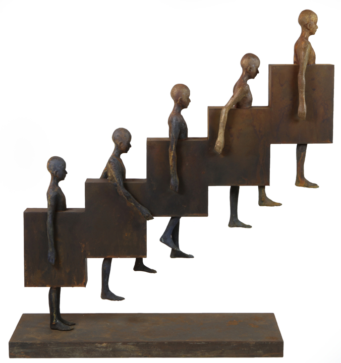 Upstair   bronze, metal, h36 w 8d 34 inches
