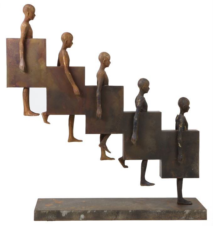 Downstair   bronze, metal, h 36w 8d 34 inches