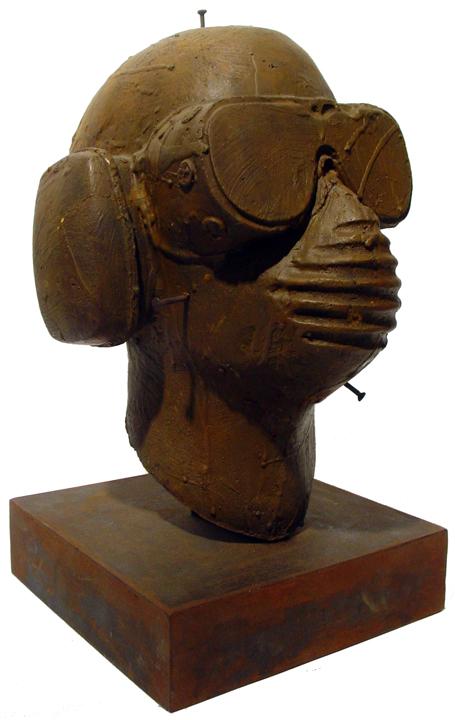 Cabeza Anonima   bronze and metal, h 15 w 8 d 8 inches