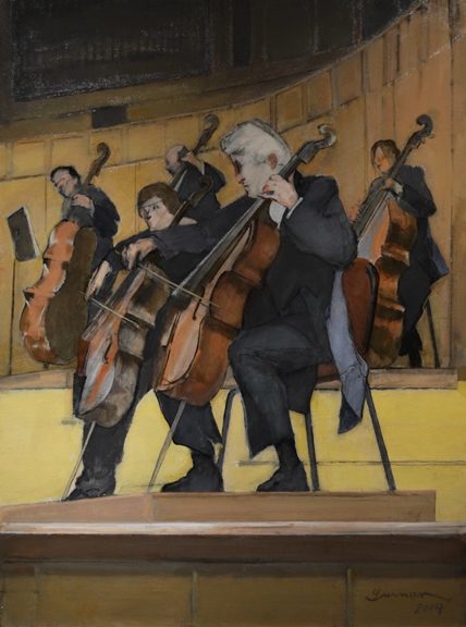 CSO Strings   acrylic on canvas, h 40. 5  w 30.5 inches