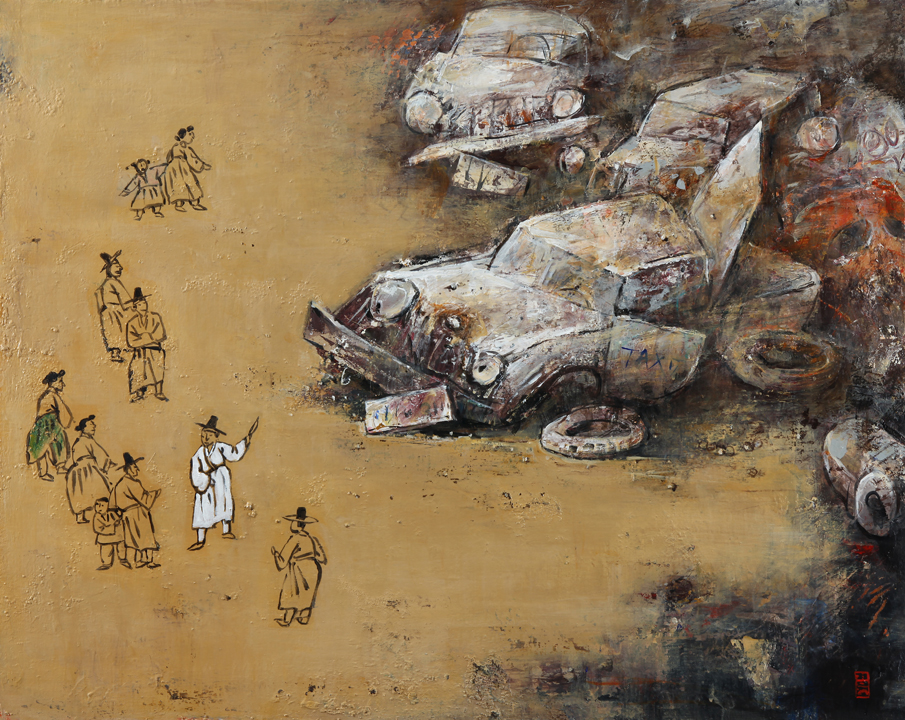 San Chaek Do (A Picture of a Stroll)   acrylic, mixed media on canvas, h 29  w 36 inches