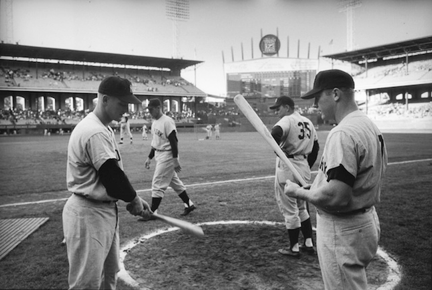 Roger Maris and Mickey Mantle, Comiskey Park, 1961   silver gelatin print, h11 w 14 inches