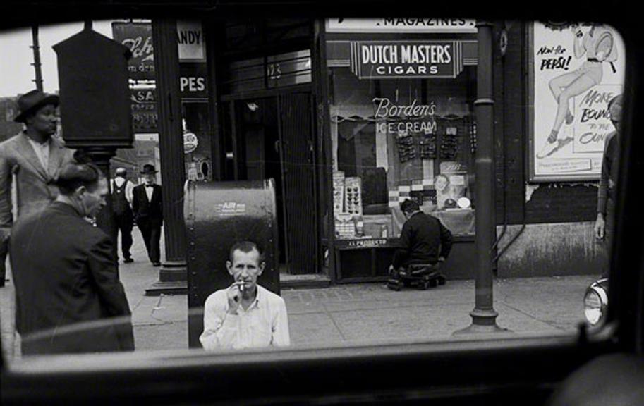 Sunday Morning on Madison Street, 1950   silver gelatin print, h 16 w 20 inches