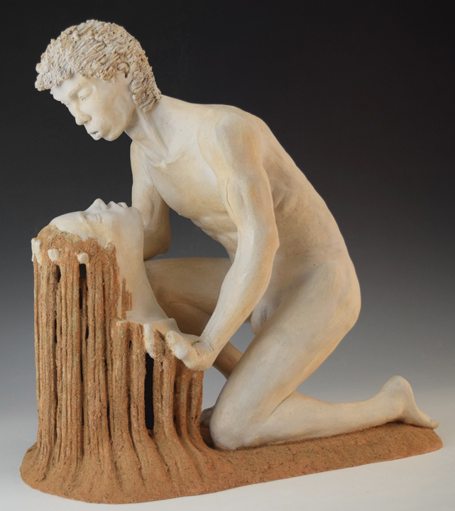 The Last Romantic II    white stoneware, grout, glazes, h 21 w 20 d 12 inches