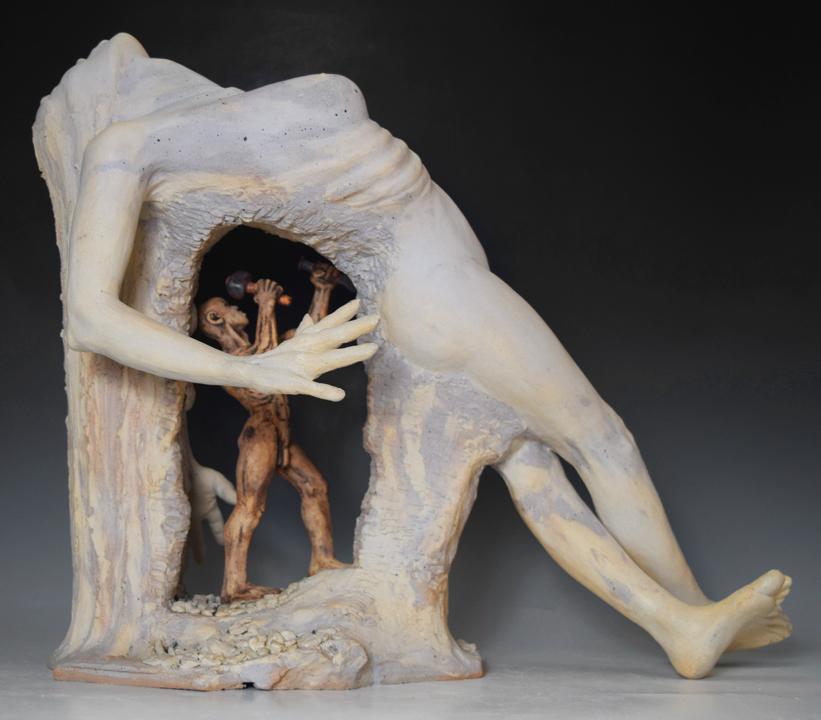 Extasis   white stoneware, grout, glazes, h 16 w 19 d 11 inches