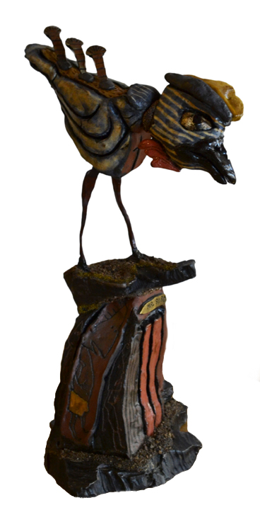 Mr. Bird   ceramic, metal, mixed media, h 12.75  w 7  d 6 inches