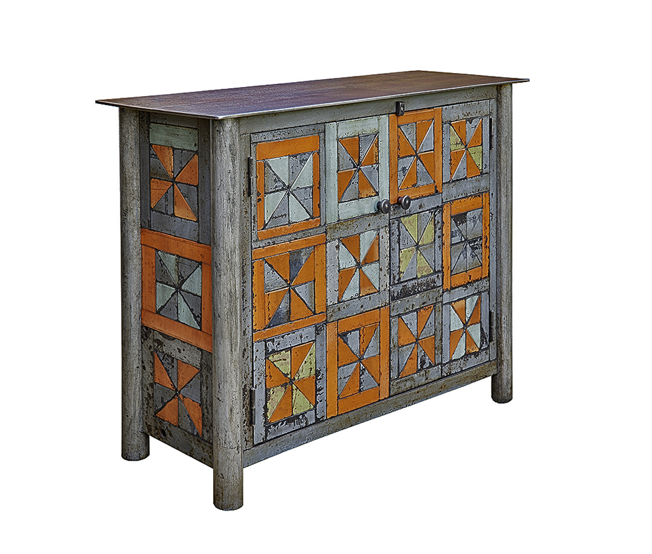 Two Door Pinwheel Quilt Cupboard   steel, natural rust patina, found color panels, h 33  w 48  d 16 inches   SOLD
