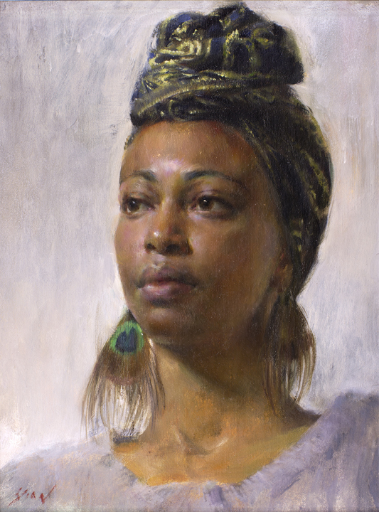 Study of Nedda   oil on canvas, h 16  w 12 inches