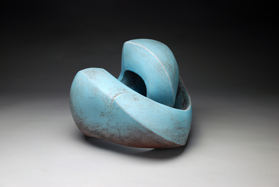 Recoil    handbuilt earthenware, hollow construction, glazed and sandblasted,h 11 w 14 d 13.5