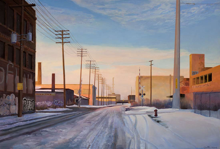 Crosstown Bus Stop, Detroit    oil on panel  h 20.5  w 30 inches