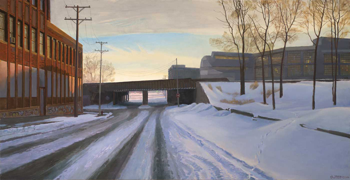 Milwaukee Street at Hastings   oil on panel  h 15.5 x w 30 inches