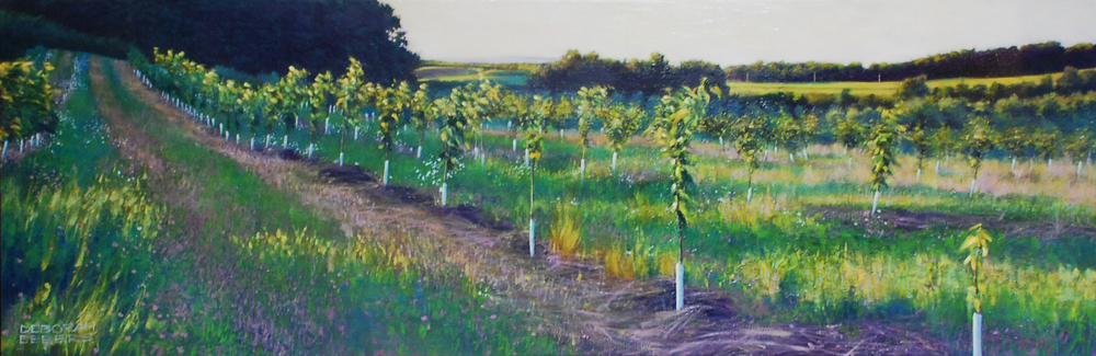 Orchard Path ( View of Fox Island)   oil on canvas  h 18  w 54 inches