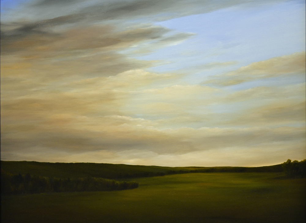Clearing Sky south of Sheboygan   oil on canvas  h 31  w 41 inches
