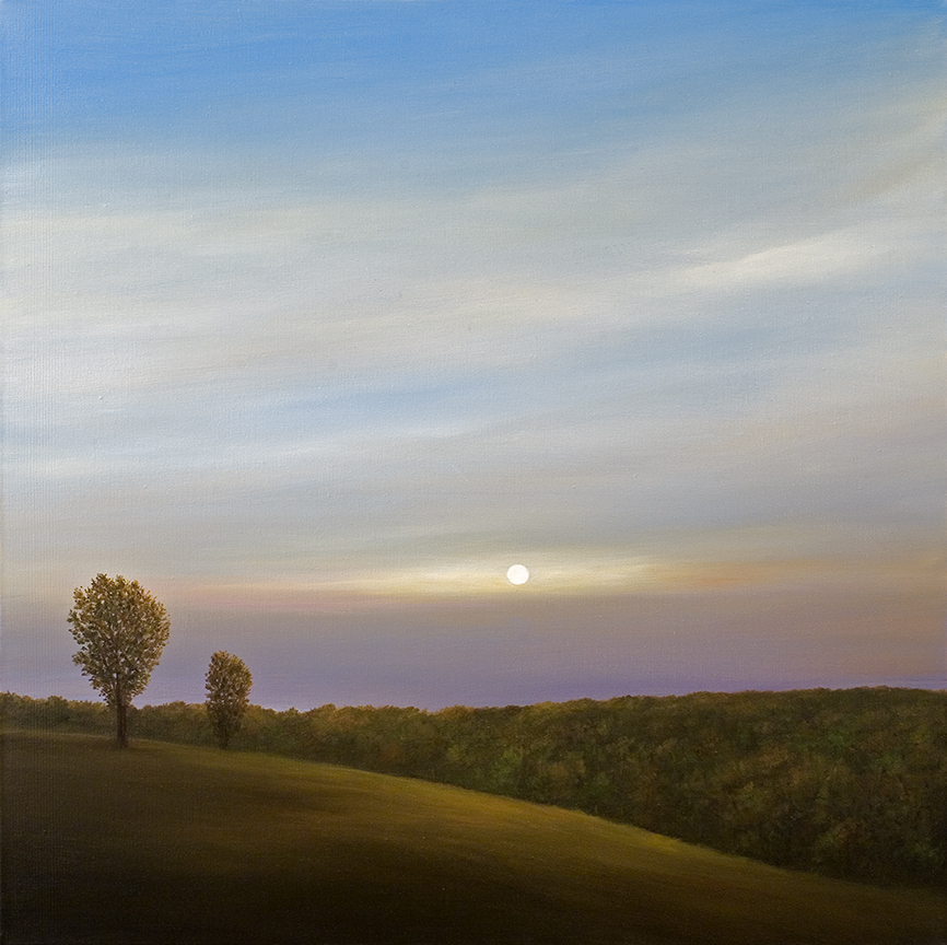 Over the Valley - Setting Sun   oil on canvas  h 25  w 25 inches