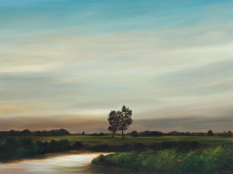 Creek South of Chatham   oil on panel  h 19  w 25 inches