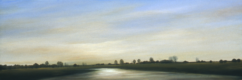 Waterway at Twilight   oil on canvas  h 14  w 38 inches