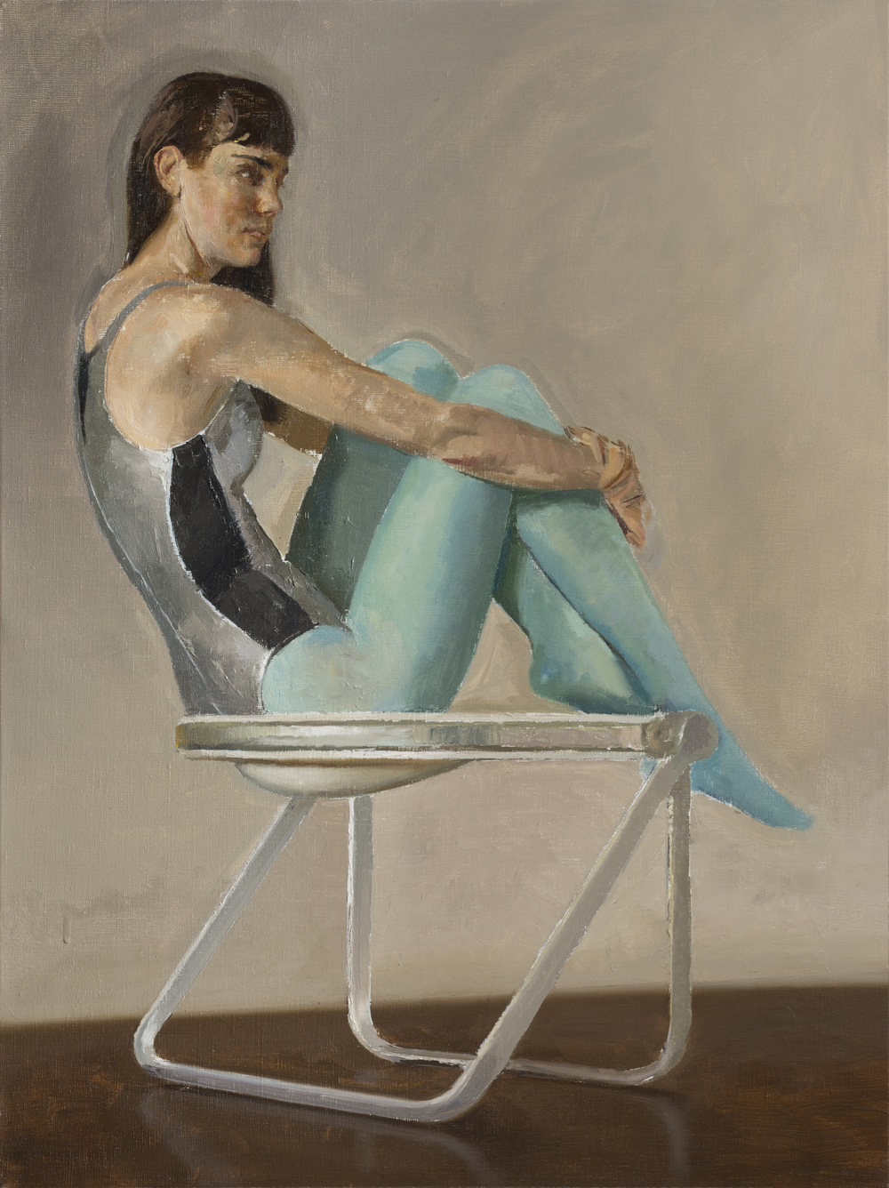 Lily in Blue Tights on Pluff Chair   oil on linenh 24w 18 inches