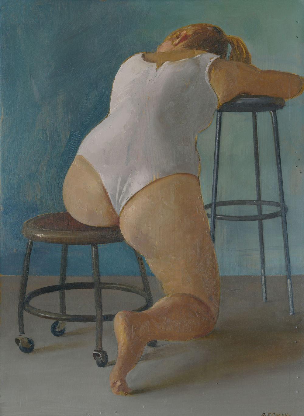 Paige Seated in White Leotard   oil on panel  h 14  w 10 inches