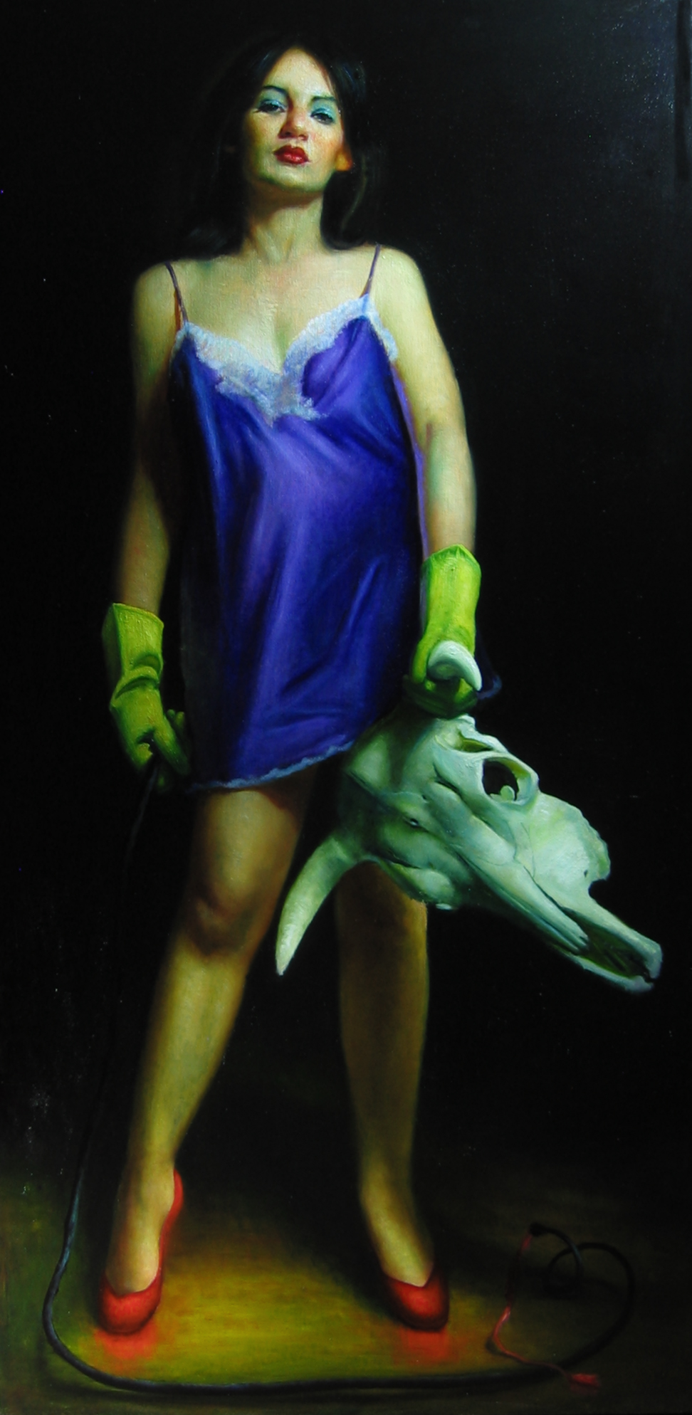 Woman Fighting Bull   oil on linen  h 80  w 42 inches