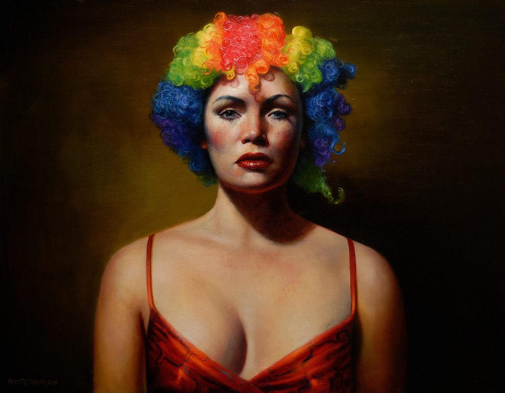 Clown   oil on linen  h 28  w 36 inches