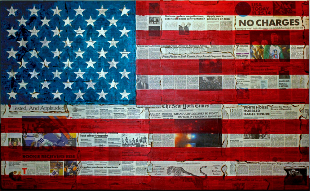 No Charges    original newsprint, acrylic, polymer resin on panel  h 32  w 48 inches