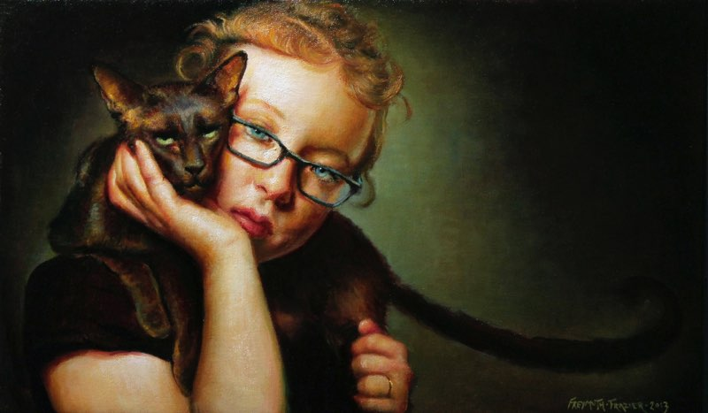 Little Girl with Tomcat   oil on linen, h 12 w 20 inches