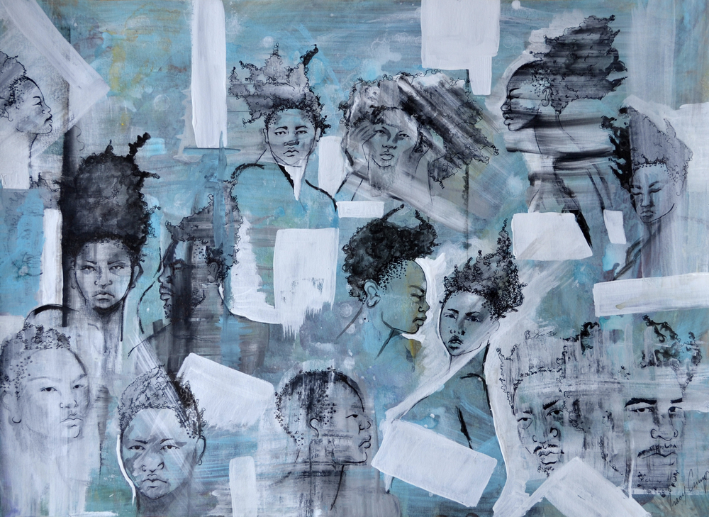The People people 2   acrylic, pen and ink, h 18 w 24 inches