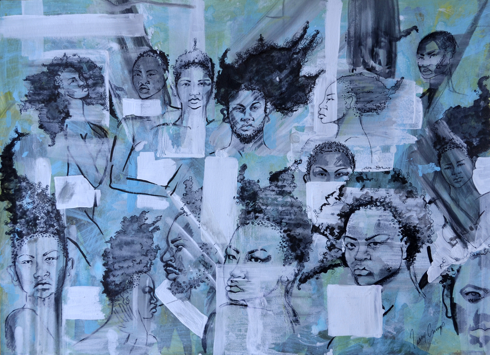 The People people 4   acrylic, pen and ink on paper, h 18 w 24 inches