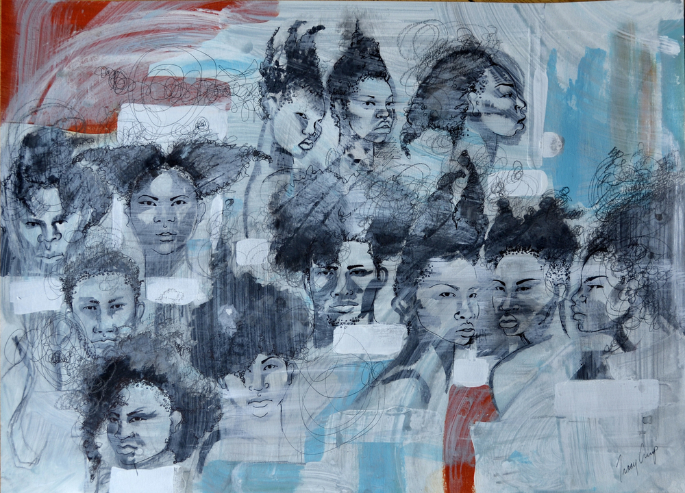 The People people 6   acrylic, pen and ink, h 18 w 24 inches