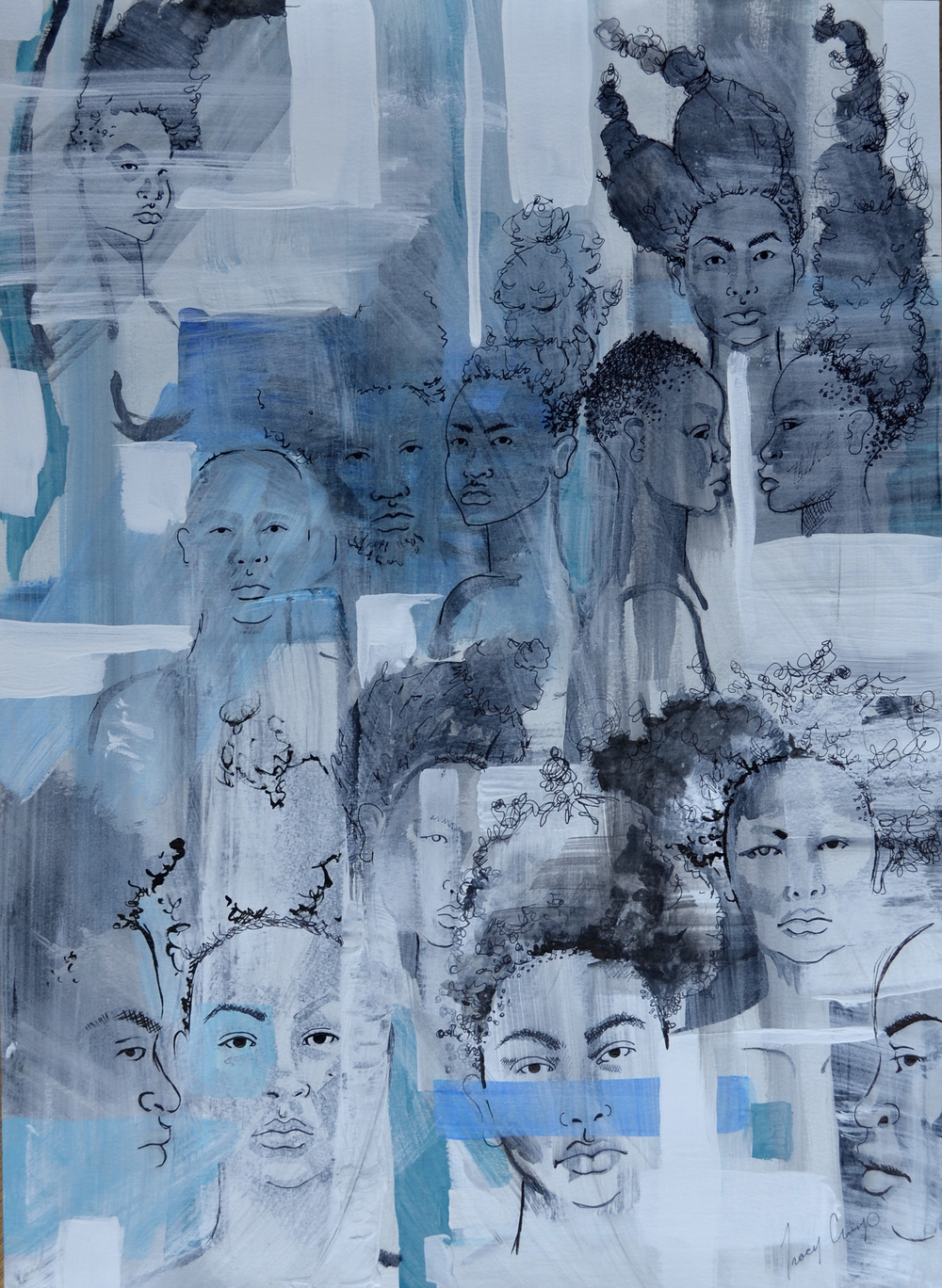 The People people 1   acrylic, pen and ink, h 24 w 18 inches