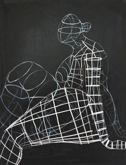Sitting Woman Sculptural Drawing    chalk, charcoal, paper  h 30.5  w 24.5 inches