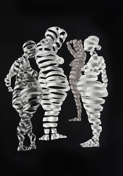 Untitled Sculptural Drawing (4 Women)    chalk, charcoal, paper  w 42  h 32 inches