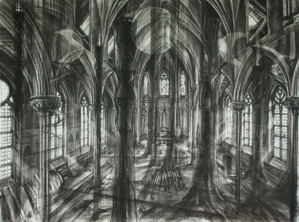The Reclamation   charcoal on Rives BFK, h 40 w 55 inches