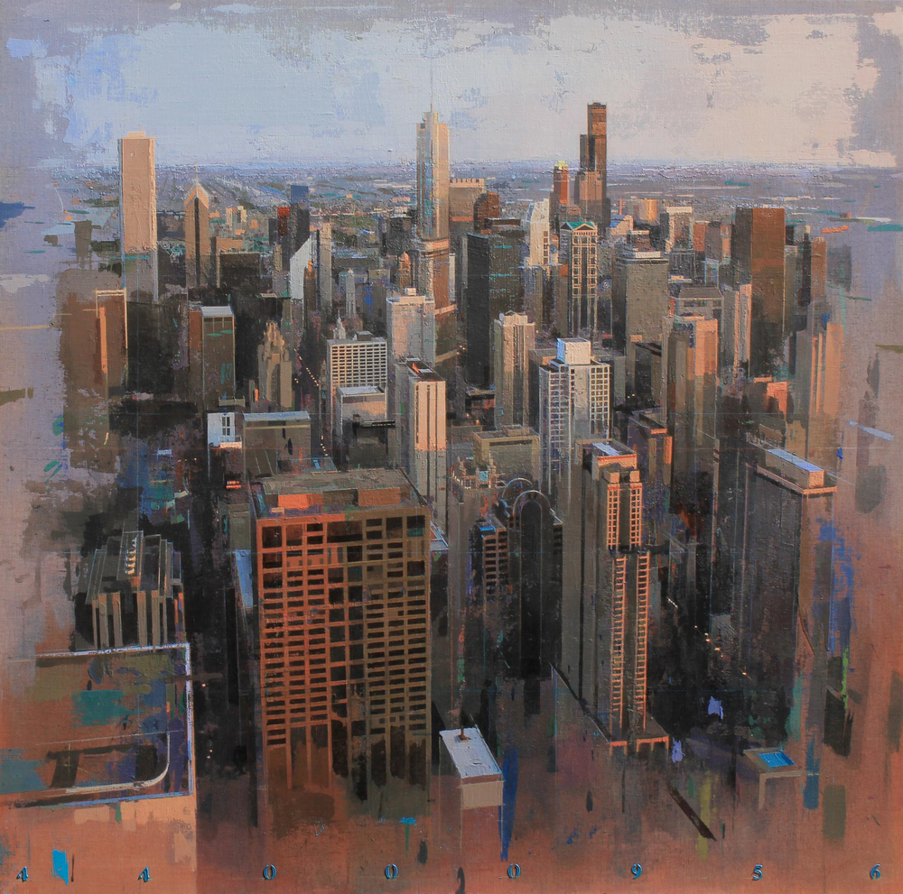 Chicago   oil on linen, h 58 w 58 inches SOLD
